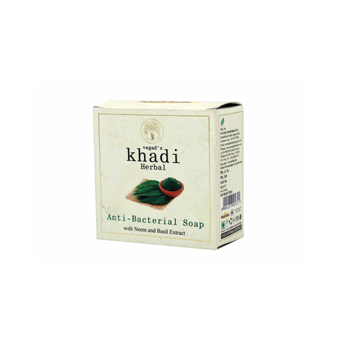 Vagad's Khadi Herbal Anti-Bacterial Soap with Neem and Basil Extract Pack of 2