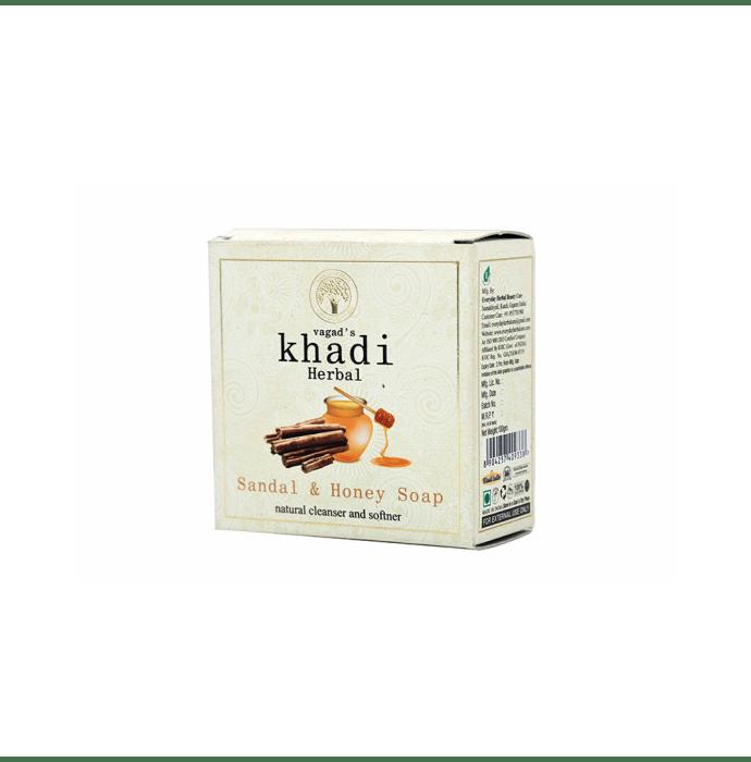 Vagad's Khadi Herbal Sandal & Honey Natural Cleanser and Softner Soap Pack of 2