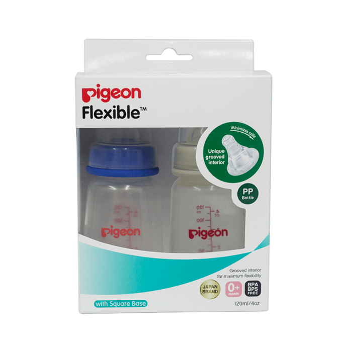 Pigeon Peristaltic Standard Neck Nursing Bottle Twin Pack Kpp with S-Type Nipple Blue and White