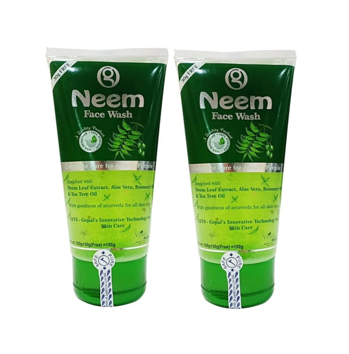Vrinda Amrit Neem Face Wash - Complete Care For Acne & Pimples Pack of 2