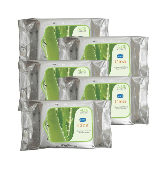 Ginni Clea Cleansing & Makeup Remover Wipes with Aloe Extract Pack of 5