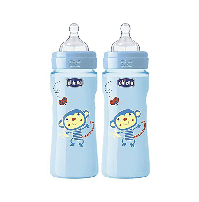 Chicco Combo of Wellbeing Feeding Bottle 250ml Blue