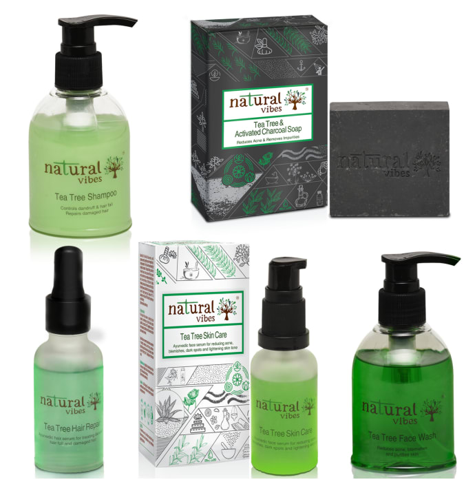 Natural Vibes Ayurvedic Tea Tree and Activated Charcoal Anti Acne, Anti Dandruff and Hair Fall Treatment