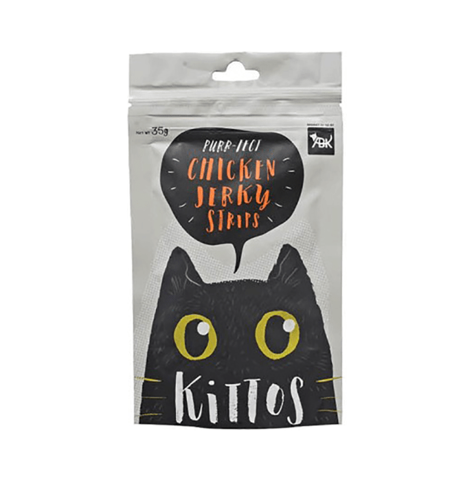 Kittos Chicken Jerky Strips For Cats Pack of 3