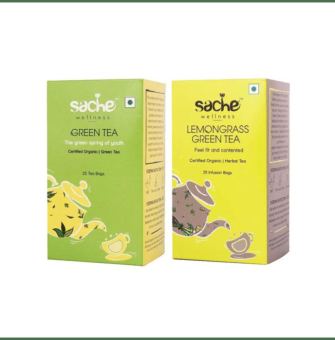 Sache Wellness Combo Pack of Organic Green Tea 25 Tea Bags & Lemongrass Green Tea 25 Infusion Bags