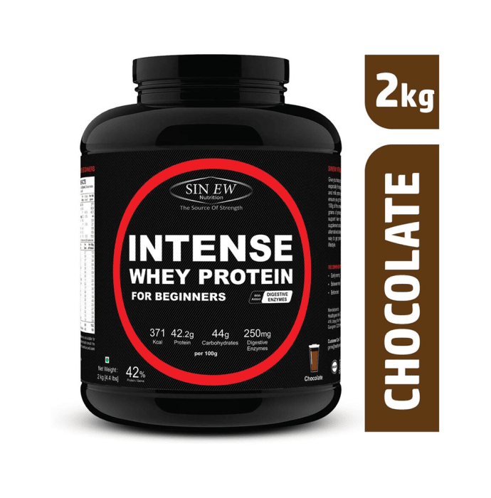 Sinew Nutrition Intense Whey Protein for Beginner's with Digestive Enzymes, Protein Supplement Chocolate