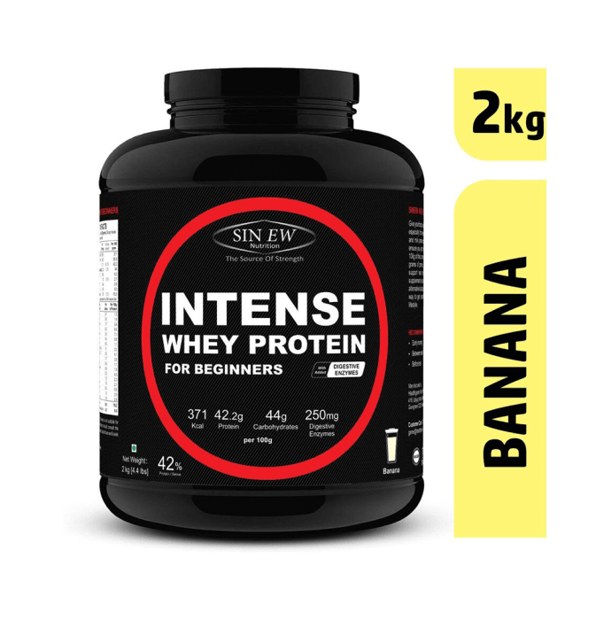 Sinew Nutrition Intense Whey Protein for Beginner's with Digestive Enzymes, Protein Supplement Banana
