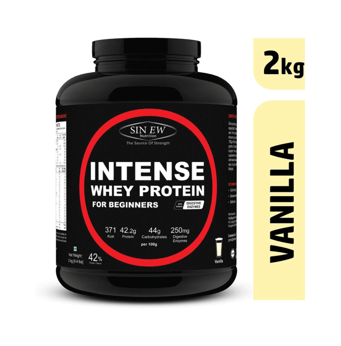 Sinew Nutrition Intense Whey Protein for Beginner's with Digestive Enzymes, Protein Supplement Vanilla