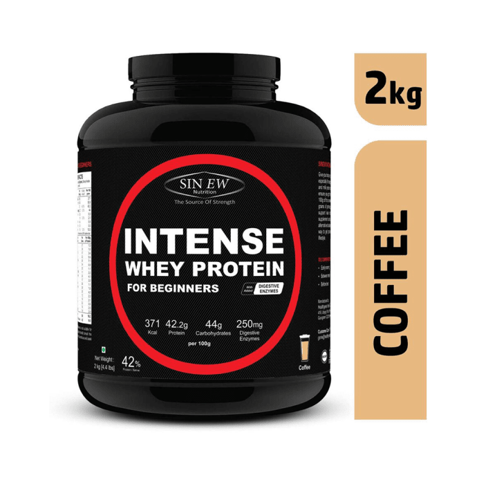 Sinew Nutrition Intense Whey Protein for Beginner's with Digestive Enzymes, Protein Supplement Coffee