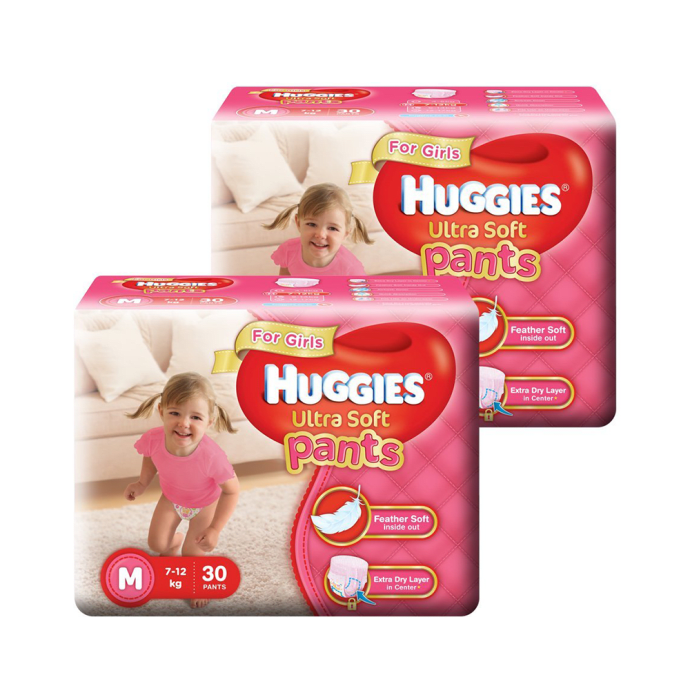 Huggies Ultra Soft Pants Premium Diapers for Girls M