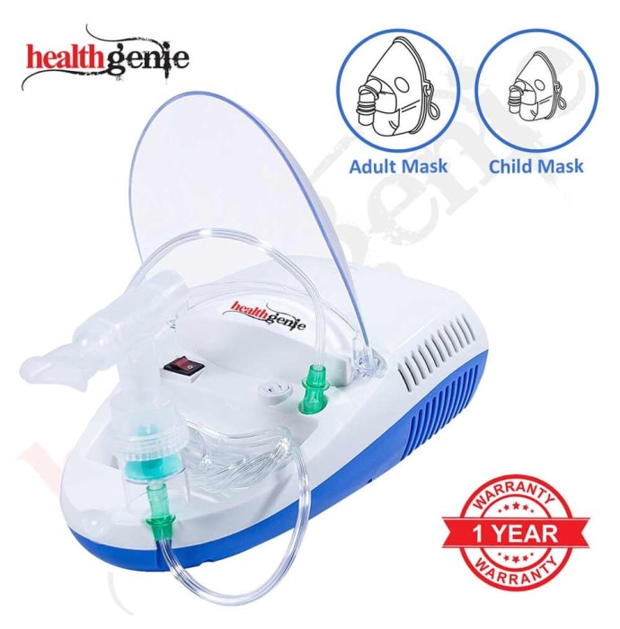 Healthgenie Compressor Complete Kit with Child and Adult Masks Nebulizer White