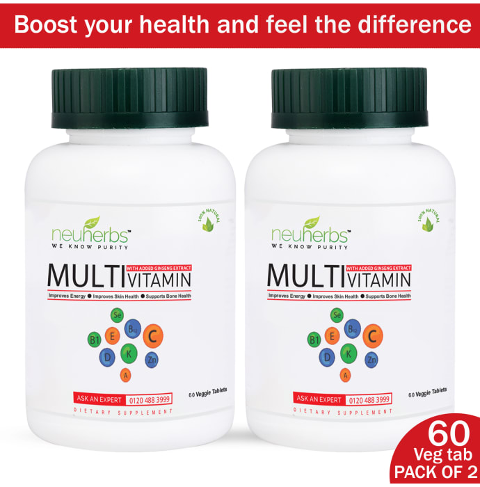 Neuherbs Multivitamin and Multimineral Tablet with Added Ginseng Extract Pack of 2