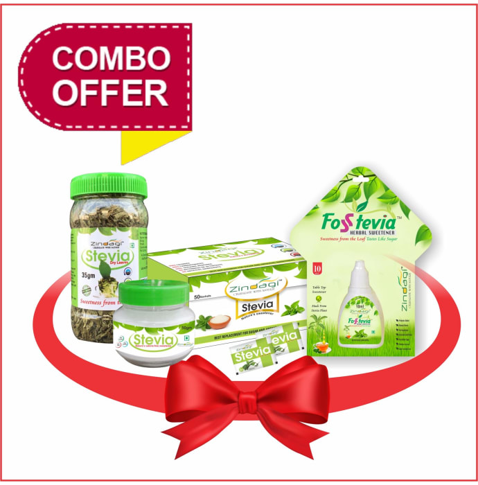 Zindagi Combo Pack of Stevia Liquid (10ml) , Stevia Powder (50gm) , Stevia Sachets (50) and Stevia Leaves (35gm)