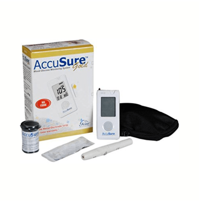 AccuSure Gold Blood Glucose Meter with 25 Test Strips