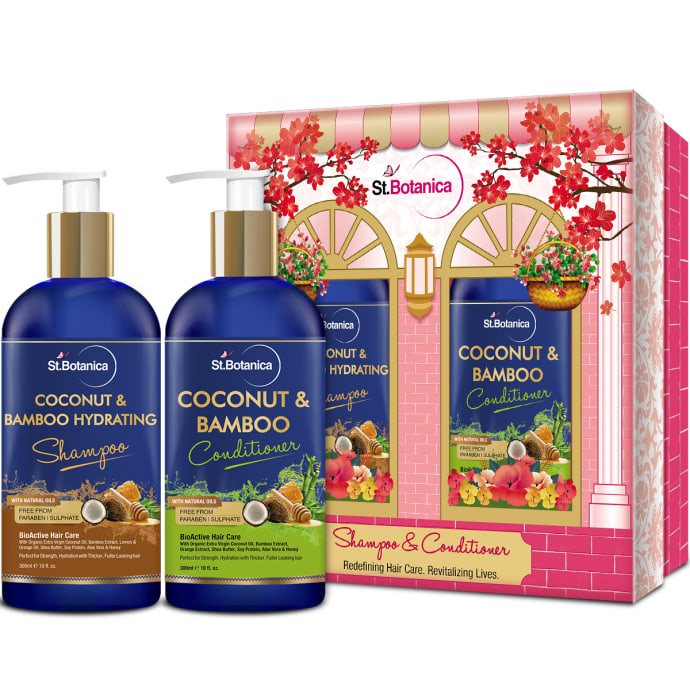 St.Botanica Combo Pack of Coconut Oil & Bamboo Hair Strengthening Shampoo + Coconut & Bamboo Hair Conditioner