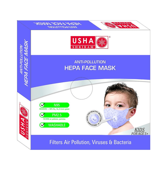 Usha Shriram N95 Anti Pollution HEPA Face Mask for Kids Pack of 2