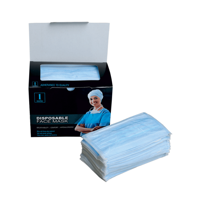 1Mile Disposable 2 Ply Face Mask Blue
