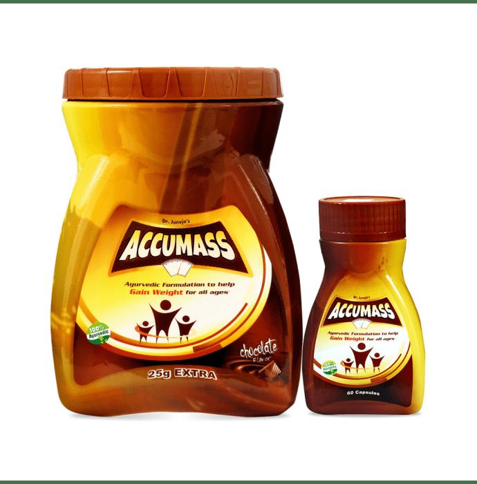 Accumass Combo of Accumass Weight Gain Granules 525gm & Accumass Weight Gain Capsule 60