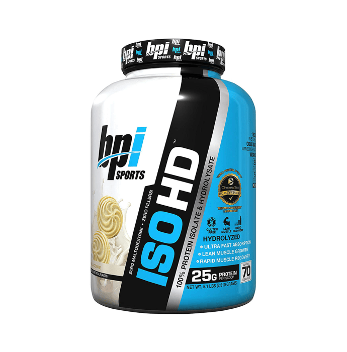 BPI Sports ISO HD 100% Whey Protein Isolate & Hydrolysate Vanilla Cookies