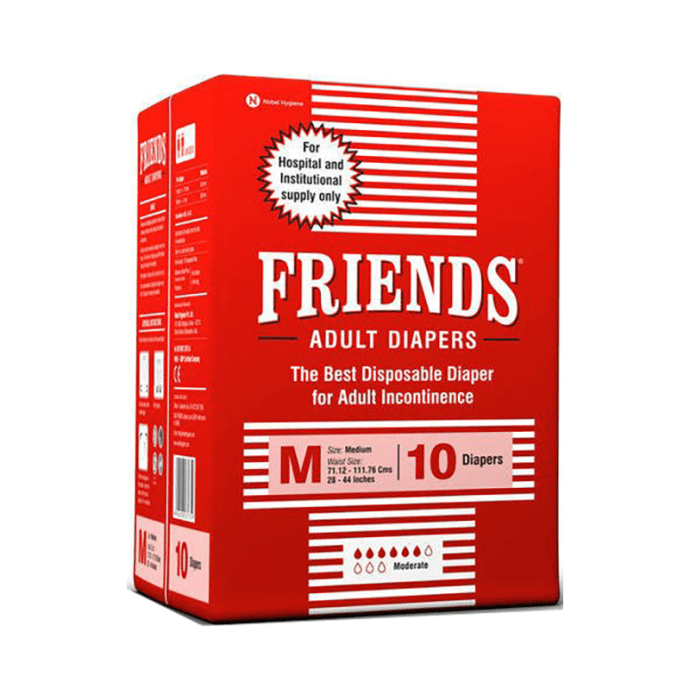 Friends Hospital Adult Diapers M Pack of 12
