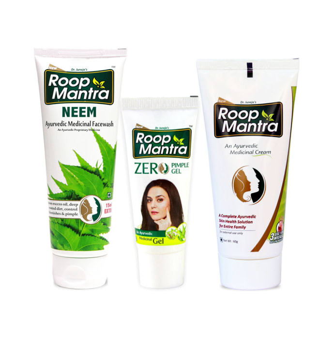 Roop Mantra  Combo Pack of Neem Face Wash 115ml, Zero Pimple Gel 15gm & Face Cream 60gm