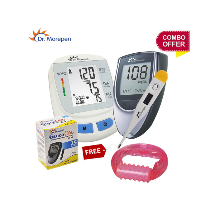 Dr Morepen Combo of B.P. Monitor, Glucometer with 25 Test Strips and Thermometer