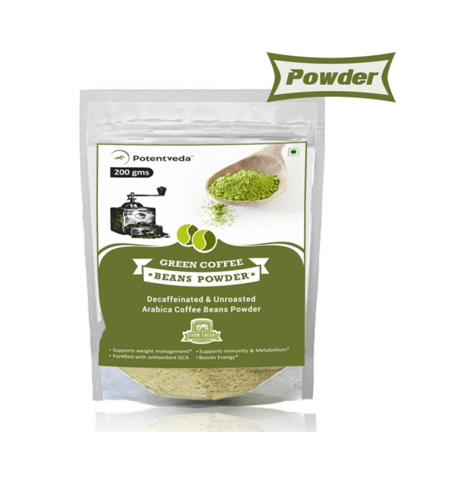 Potentveda Green Coffee Beans Powder- Unroasted Arabica Weight Management