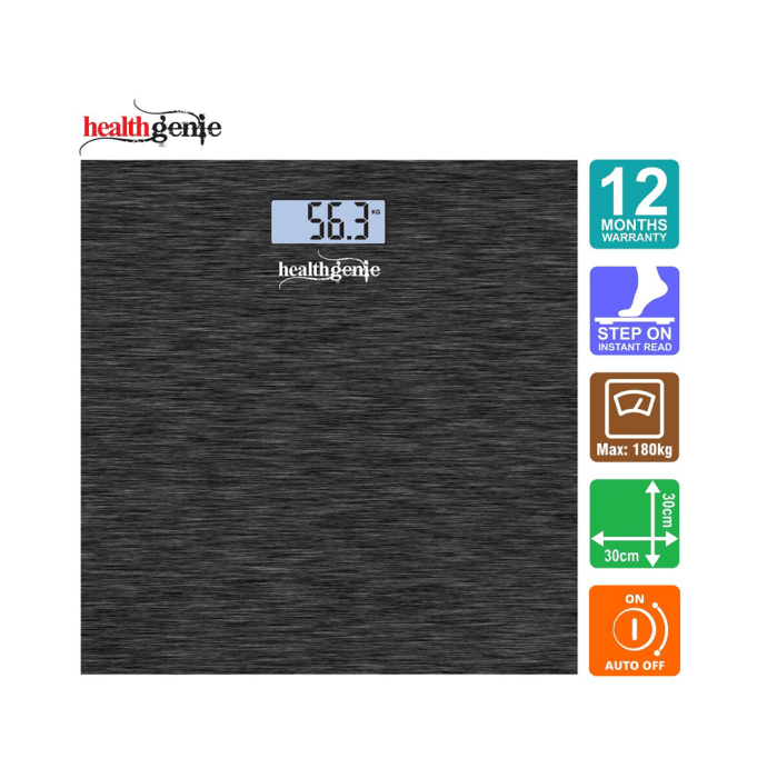 Healthgenie Digital Personal Weighing Scale with Back Light and Step On Technology - HD 221 Brushed Dark Grey