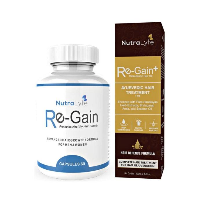 Nutralyfe Ultimate Hair Care Combo of Hair Regain Capsules 60 & Re-Gain+ Ayurvedic Hair Oil 100ml