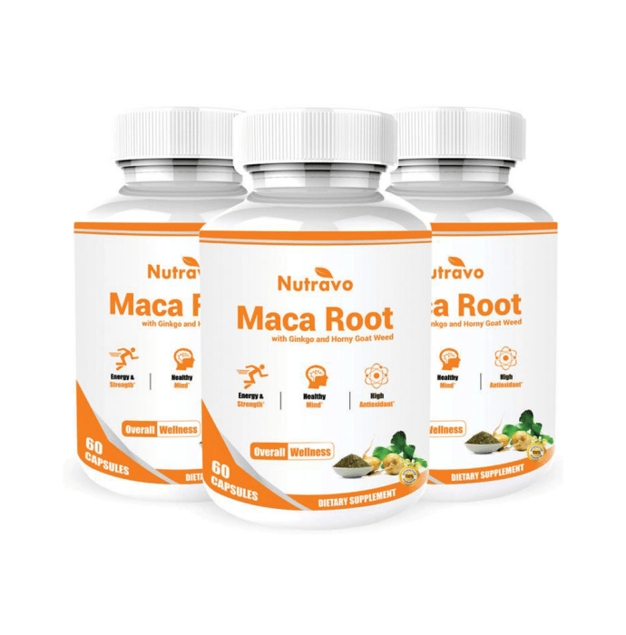 Nutravo Maca Root with Horny Goat Weed & Ginkgo Biloba Extract Capsule Pack of 3