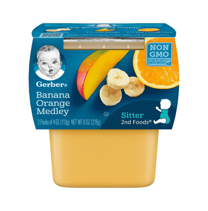 Gerber 2nd Sitter Baby Foods (2 Packs of 113 gm Each) Banana Orange Medley