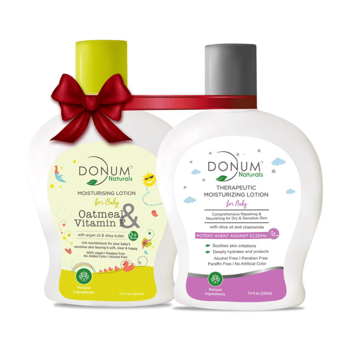 Donum Naturals Combo Pack of Oatmeal Shea Butter Lotion and Therapeutic Lotion for Baby