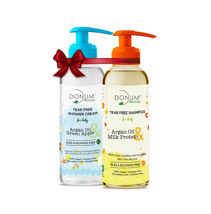 Donum Naturals Combo Pack of Tear Free Body Wash & Tear Free Shampoo for Baby