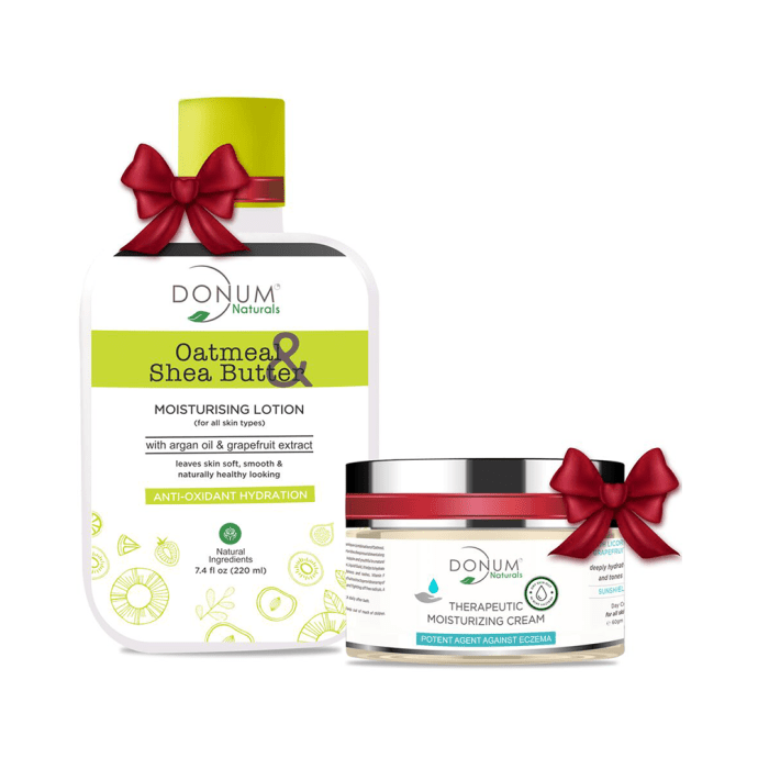 Donum Naturals Combo Pack of Oatmeal Shea Butter Lotion and Therapeutic Cream