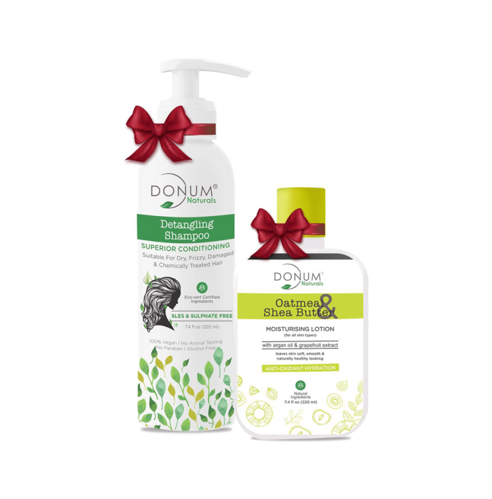 Donum Naturals Combo Pack of Detangling Shampoo and Oatmeal Shea Butter Lotion