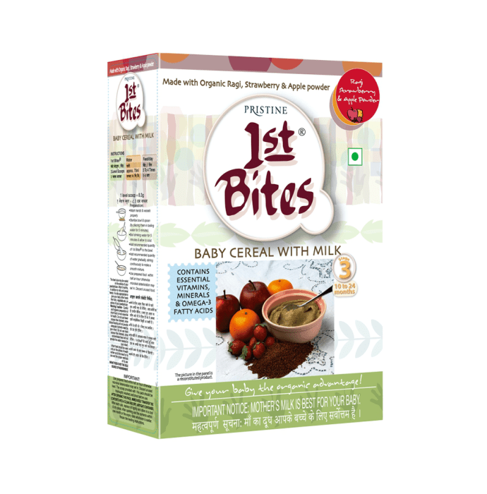 Pristine 1st Bites (10 Months - 24 Months) Stage-3 Baby Cereals with Milk Ragi Strawberry and Apple Powder