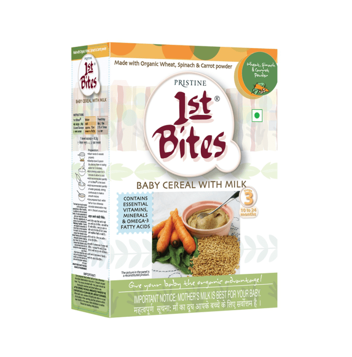 Pristine 1st Bites (10 Months - 24 Months) Stage-3 Baby Cereals with Milk Wheat Spinach and Carrot Powder