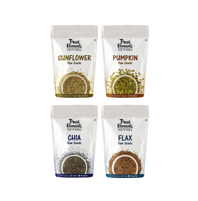 True Elements Combo Pack of Raw Sunflower Seeds, Raw Pumpkin Seeds, Raw Chia Seeds and Raw Flax Seeds (250gm Each)