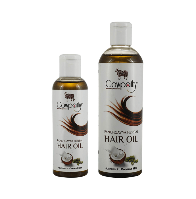 Cowpathy Combo Pack of Panchgavya Herbal Coconut Milk Hair Oil 100ml and 200ml