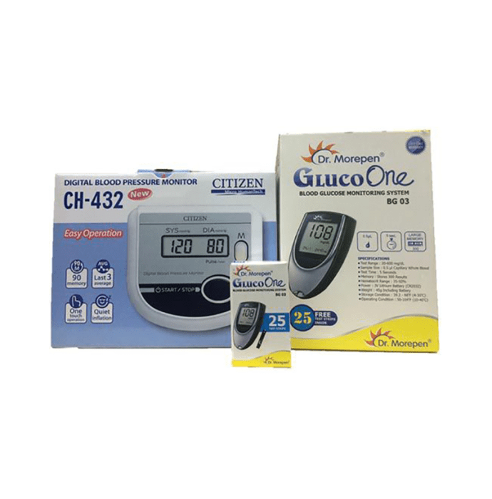 Dr Morepen Combo Pack of BG-03 Glucose Monitor and 25 Strips with Citizen CH-432 Digital Blood Pressure Monitor