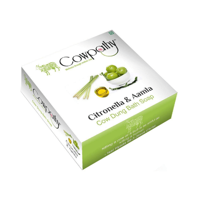 Cowpathy Cow Dung Bath Soap Citronella and Aamla Pack of 5