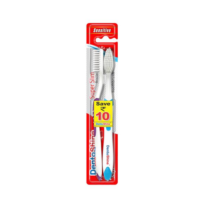 DentoShine Super Slim Toothbrush Blue and Purple Pack of 2