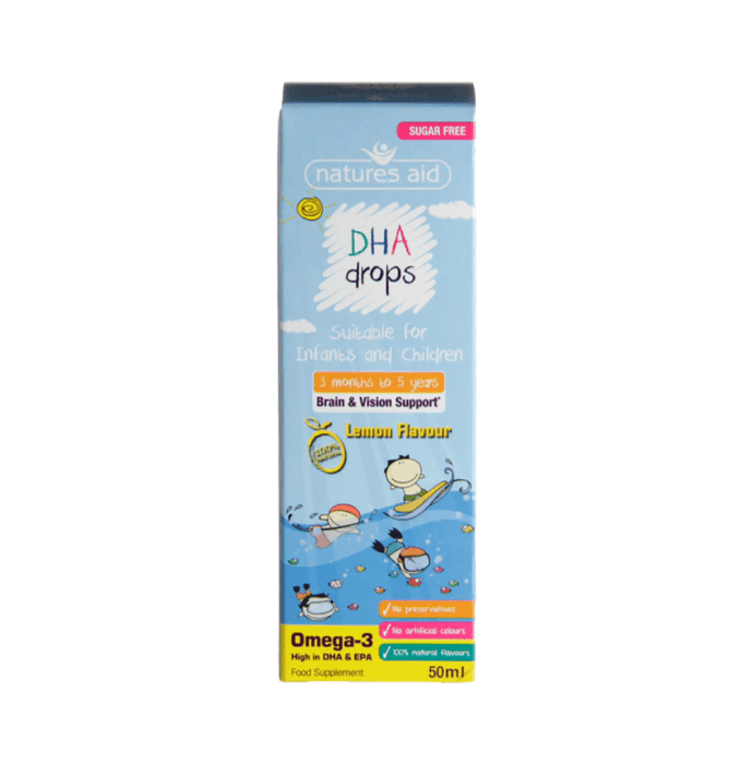 Natures Aid Omega-3 DHA Mini Drops Lemon