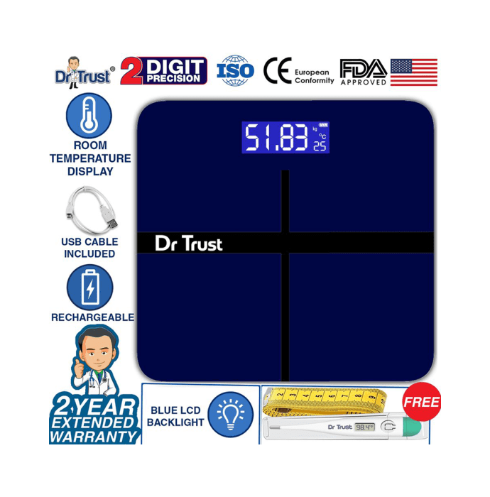 Dr Trust USA Electronic Executive Rechargeable Digital Weighing Scale with Temperature Display Blue