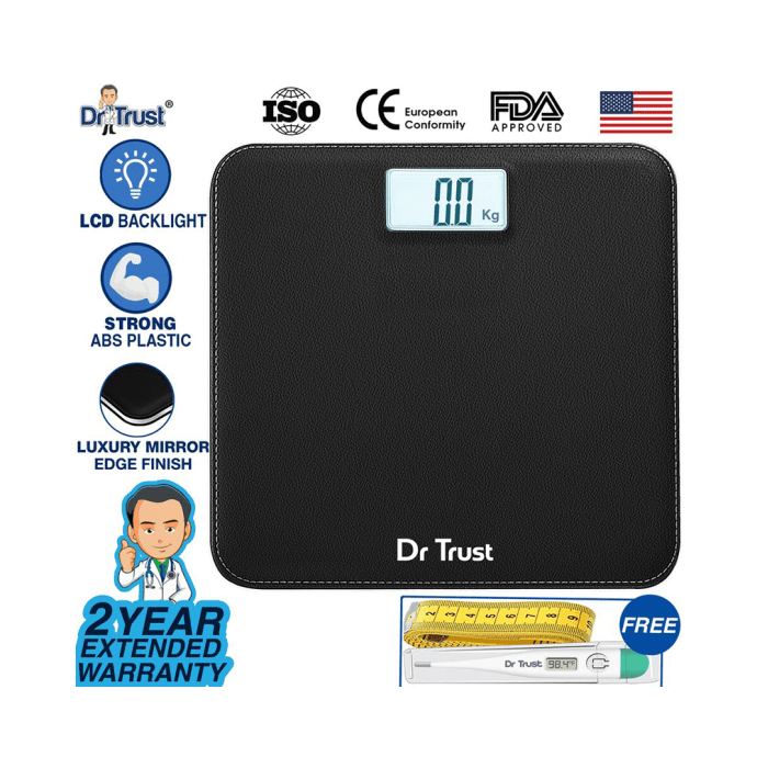 Dr Trust USA Absolute Personal Digital Scale Weighing Machine Black Leather
