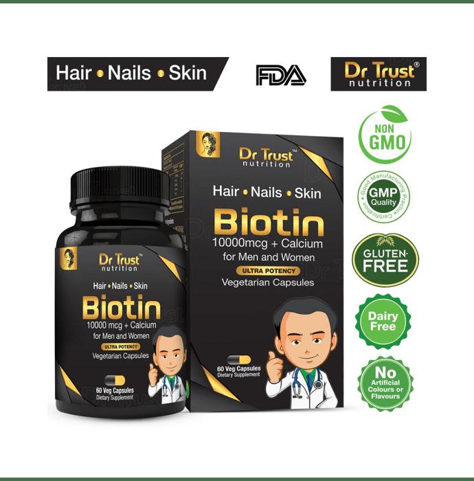 Dr Trust USA Biotin 10000 mcg with Calcium Veg Capsule