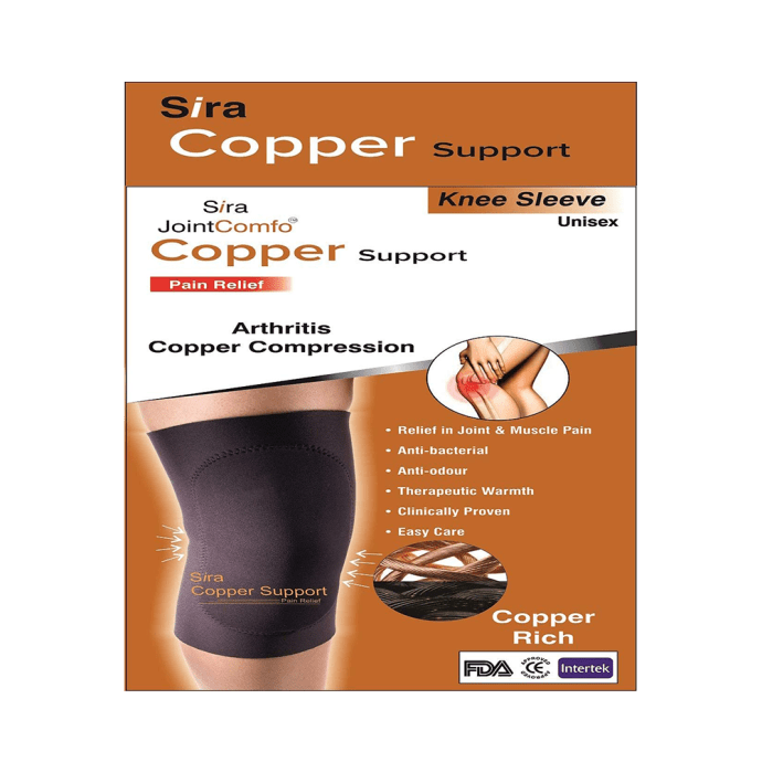 Sira Copper Compression Knee Sleeve Support L Black
