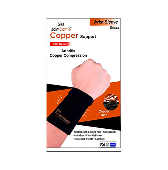 Sira Copper Compression Wrist Sleeve Support L Black