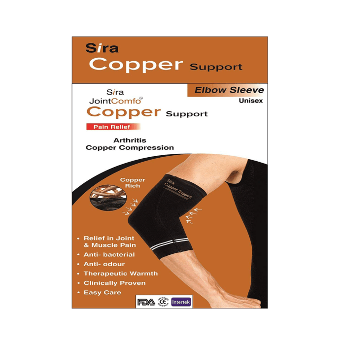 Sira Copper Compression Elbow Sleeve Support S Black