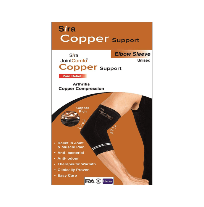Sira Copper Compression Elbow Sleeve Support M Black
